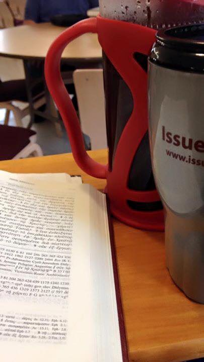 Bible with Issues, Etc. coffee cup